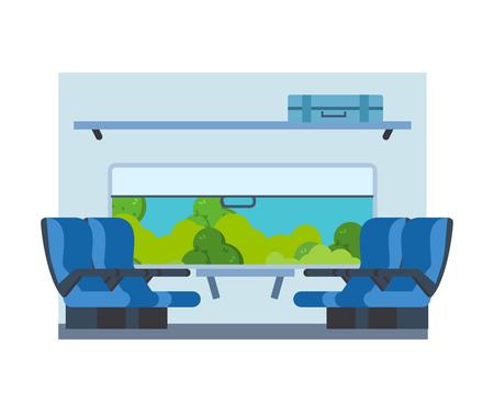 railway transport: Passenger train inside. Seat in railway transport. Travel by train. Illustration