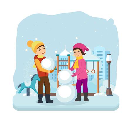 Boy, girl in winter clothes, sculpt snowman in good mood