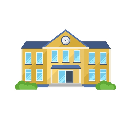 School building, with adjoining territory, front yard for school children. Illustration