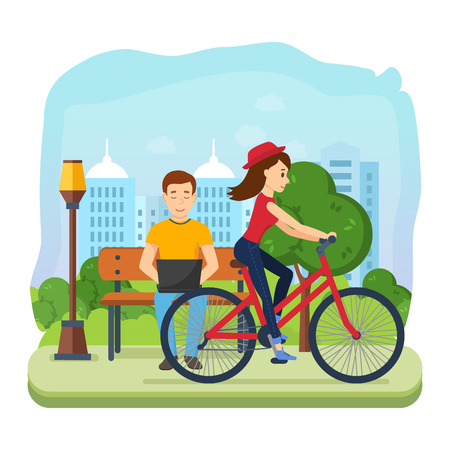 Man running on freelance, rest on bench, girl rides bicycle.