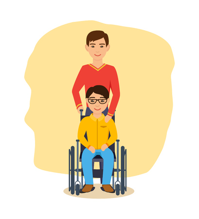 Boy in glasses, sitting in armchair, beside friend, supports him.