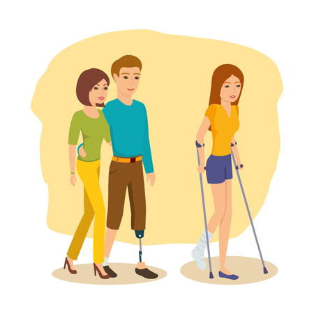 Hombre con discapacidad alrededor de al lado de su novia, la niña va en muletas.