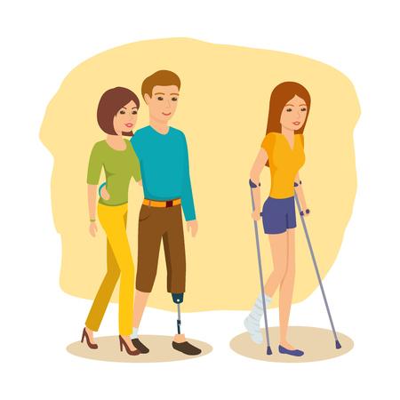 Handicapped man rond naast vriendin, meisje gaat op krukken. Vector Illustratie