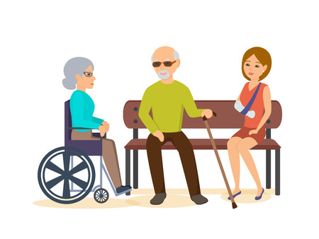 invalid: Elderly man, sits with girl on bench, woman in chair. Illustration