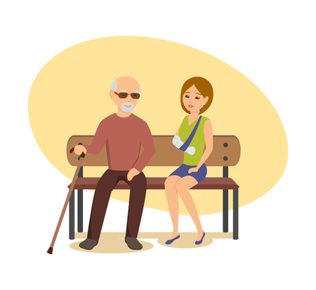 Elderly man with cane sits on bench next to girl.