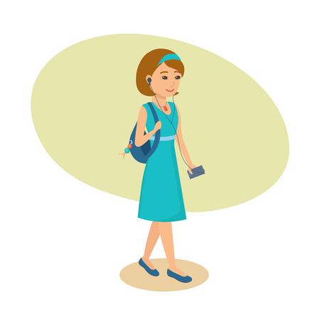 Girl with ear-phones in ears, listening music, walking along city.