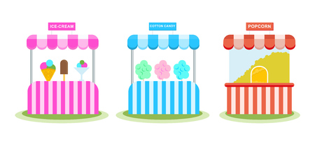 Stall with ice cream, sweet wadding, popcorn, childrens amusement park. Illustration