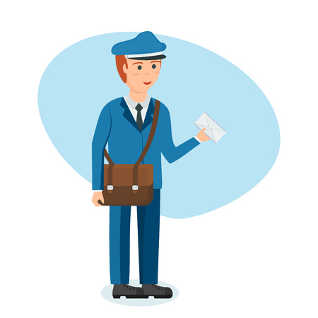 Postman in branded clothes with briefcase carries parcels and letters.
