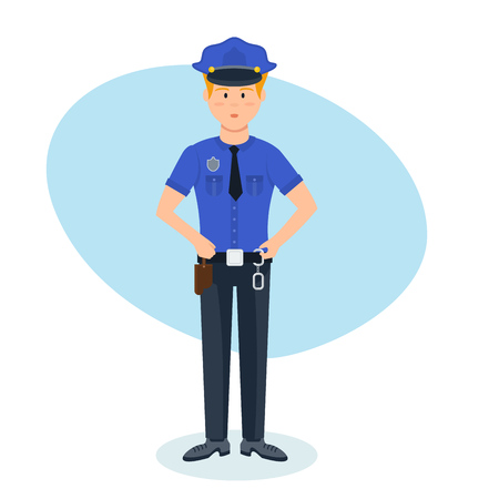 Policeman in working clothes, with necessary ammunition working in place. Illustration