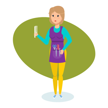 Stylist-hairdresser with necessary equipment and comb in hand, her workplace. Illustration