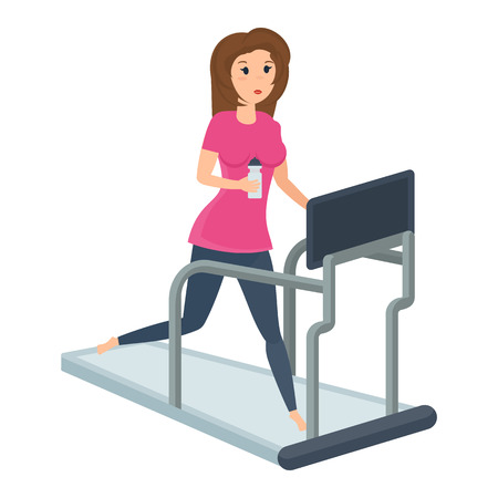 Girl engaged in fitness on treadmill, putting body in order.