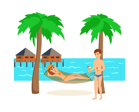 Young couple is resting on the island while on vacation.
