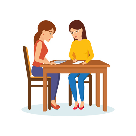 Girls sitting at table decide working moments, discuss, exchange materials. Stock Vector - 76569065