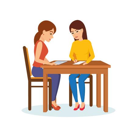 Meisjes die aan tafel zitten, beslissen werkmomenten, bespreken, ruilen van materialen.