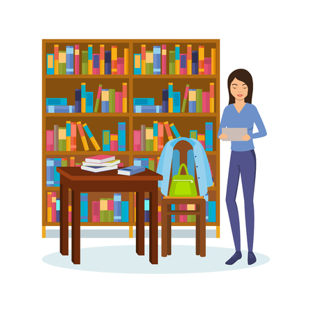 Girl with books and tablet is engaged in the library.