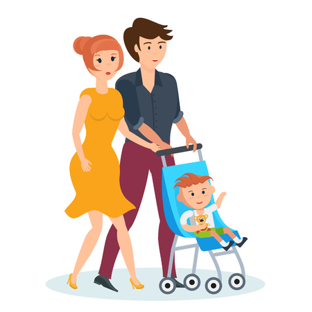 young family: Young family walking in park, spends time together with children. Illustration