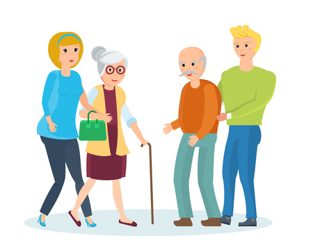 mature men: Young people with their relatives walk, help them, share time. Illustration