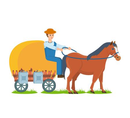 haymow: A Farmer rides horse on cart, the environmentally friendly farm craft.
