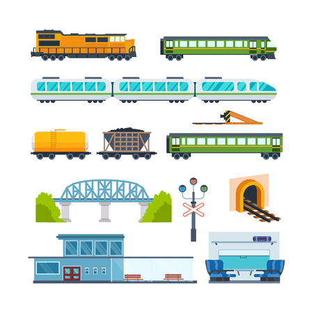 goods station: Locomotive, freight car and passenger car, railway station, train interior.