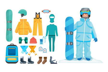 hillock: Set for creating character, clothes, equipment, elements of the character. Illustration