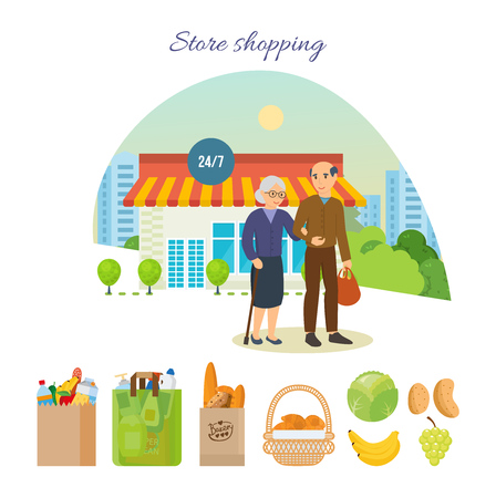 Adult couple after shopping at the mall, on city street. Illustration