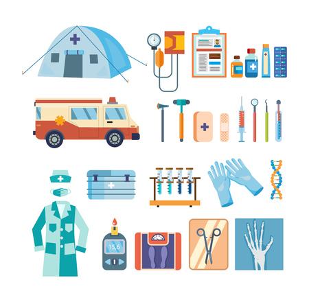 Set hulpmiddelen voor medisch onderzoek, behandeling, werk in een instelling.