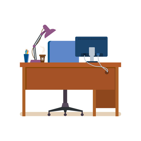 modern office interior: Office workplace interior of the room, with working furniture, lighting. Modern vector illustration isolated.