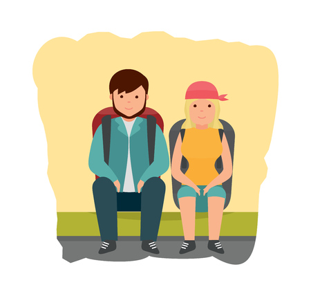 jointly: Summer vacation outdoor, camping and hiking. A young couple is resting on the sidelines, after walking on the city, with backpacks behind them. Modern vector illustration isolated in cartoon style. Illustration