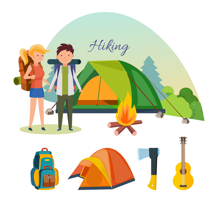 couple hiking: Hiking tourists walk and travel. Tourists, engaged in hiking, and camping, as well as basic equipment and facilities in joint hikes. Modern vector illustration isolated on white background.