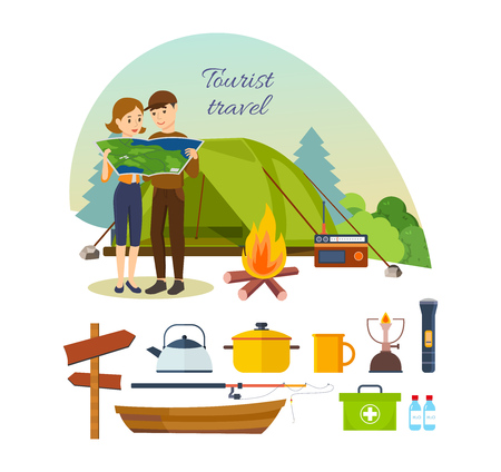jointly: Summer travel and vacation outdoor. Couple with map in hands, engaged in hiking, camping, as well as basic equipment and tools in joint hikes. Modern vector illustration isolated on white background. Illustration