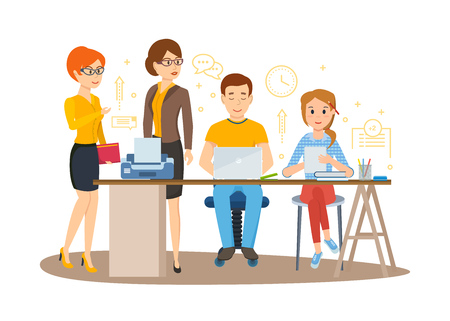 Business characters working in office, business woman entrepreneur with colleagues. Vettoriali
