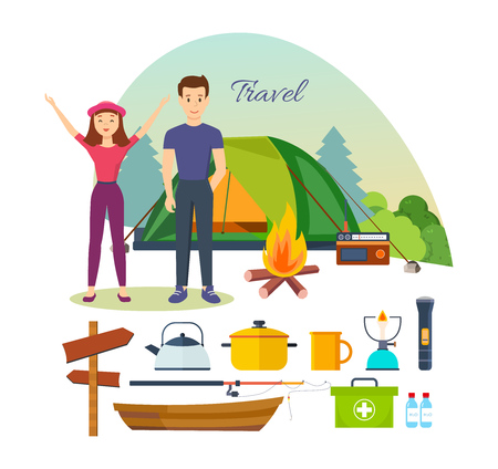 jointly: Tourists, engaged hiking, camping, basic equipment, tools in joint hikes. Illustration