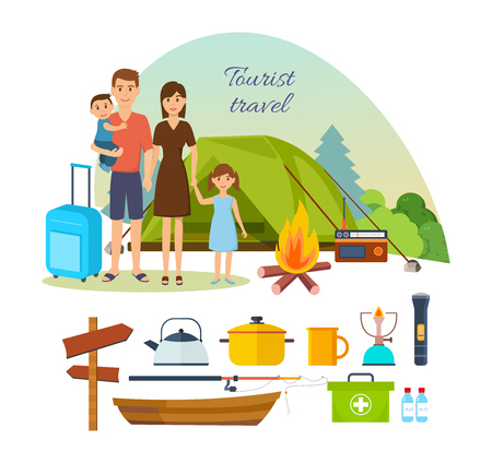 Family of tourists with luggage, engaged in hiking, camping.