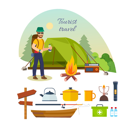 jointly: Tourist with luggage, engaged in hiking, camping, and vacation.