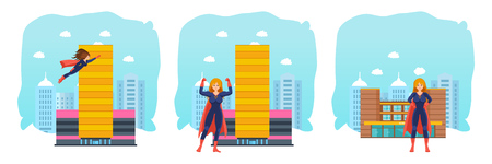 superheroine: Set of female superhero in different situations and poses.