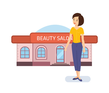 show window: Young girl on the background of modern fashionable beauty salon.