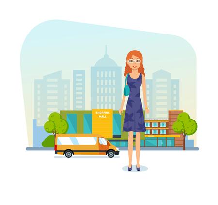 女の子のショッピング モール、美しい服を着て、良い気分。 写真素材 - 77738347