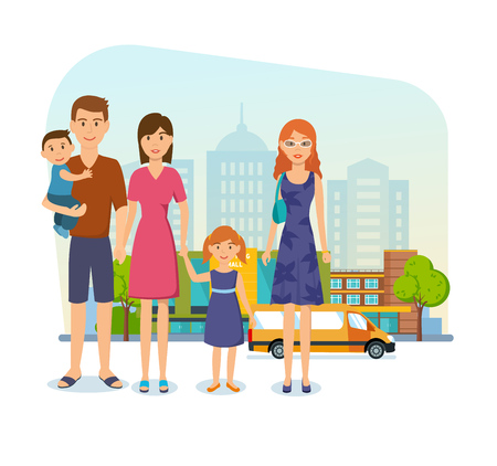 young family: Young family for shopping at mall, got out of store. Illustration