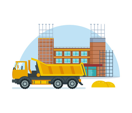 outdoor goods: Process of building school premises with help of special truck.