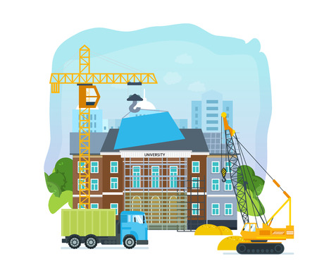 road grader: Process of building university with transport crane and truck .