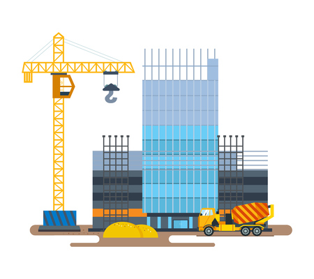 road grader: The process of building hotel with crane and concrete mixer.