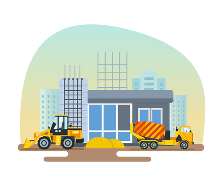 post office building: Reconstruction of post office, work on forklift and concrete mixer.