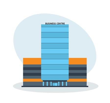 multistorey: Modern multi-storey business center building, office building. Illustration