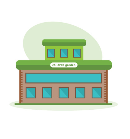 multistorey: Multi-storey building of children garten, appearance of room, structure, architecture. Illustration