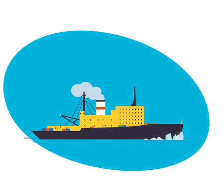 Container cargo ship on white background, freight transportation and logistic.