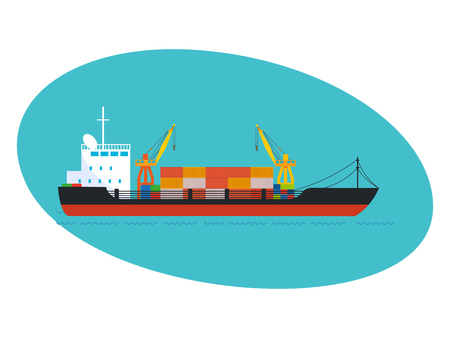 jetty: Commercial and passenger cargo ship, with cargo on board.