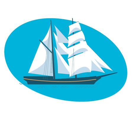 A beautiful modern sailboat frigate. Illustration