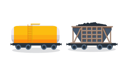 freight transportation: Wagons: transportation and cargo carriage coal. Wagons with freight, cisterns.