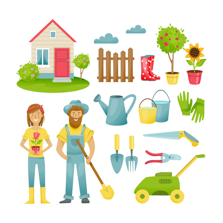 Garden elements. Farmers in the suburban area, materials, clothing, equipment and equipment for work. Vector illustration isolated on white background in cartoon style. Illustration