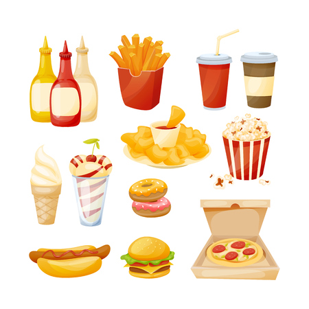 Set of delicious food, sauces and drinks from fast food. Illustration